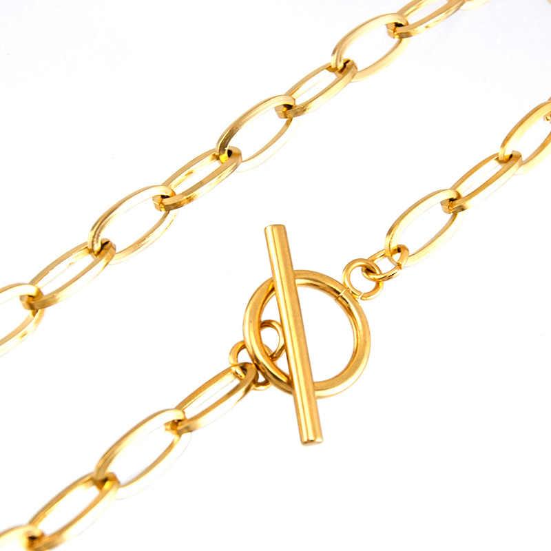 S.เหล็กผู้หญิงยาว T BAR สร้อยคอ CHOKER GOLD สลับสีจี้สร้อยคอผู้หญิง collares de Moda Boho เครื่องประดับ Collier ของขวัญ