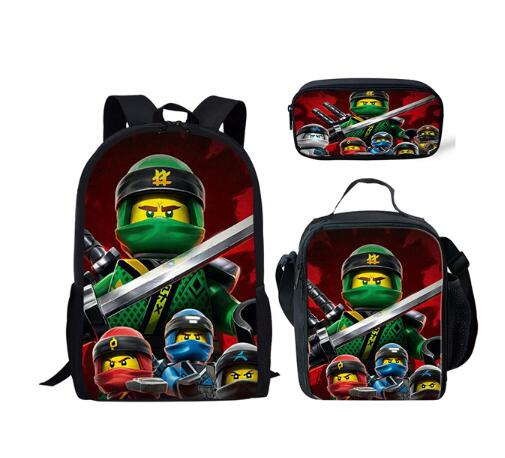 3pcs/Set Kids Mochila Cartoon Ninjago Backpack For Children Teenagers School Rucksack For Girls Boys School Bags