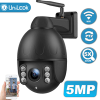 Unilook 5MP Outdoor PTZ Wifi Dome Camera High Speed 5X Optical Zoom Motion Detection Onvif IR CCTV Security Camera P2P Camhi