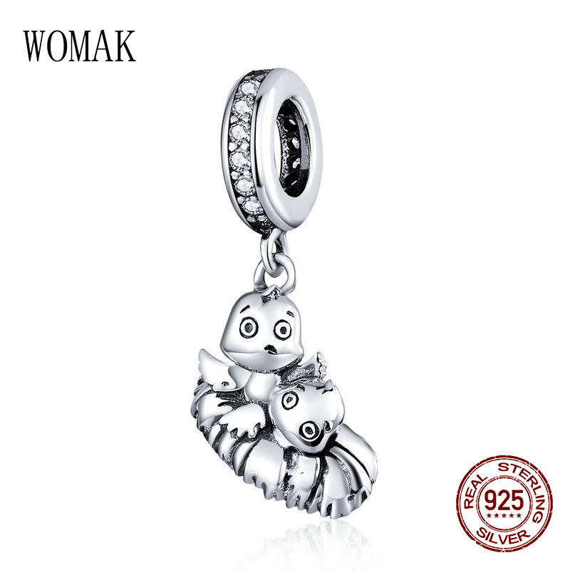 fit pandora bracelet woman brand jewelry 925 sterling silver cute bird charm retro beads for girls necklace pendant DIY charms(China)