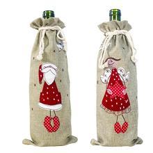 Linen Bottle Cover Bags Santa Claus Angel Drawstring Christmas Wine Bottle Cover