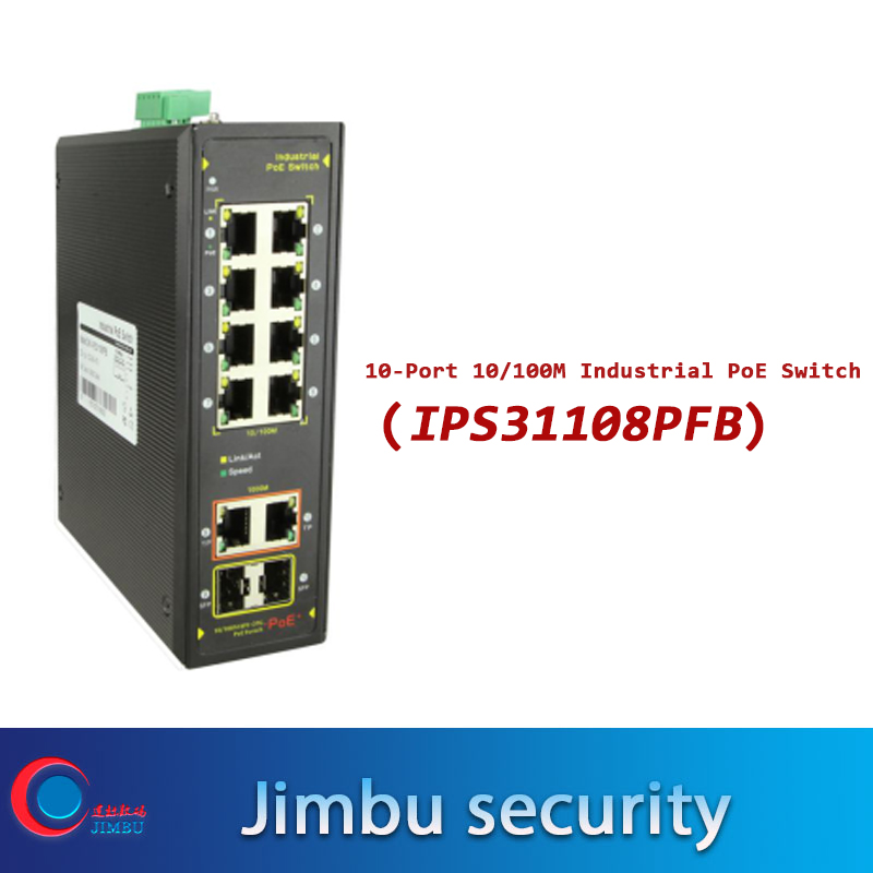PoE Switch IPS31108PFB 10port 10/100M Unmanaged Two-layer Industrial With 8*10/100M RJ45 Ethernet Ports, 2*Gigabit TP/SFP