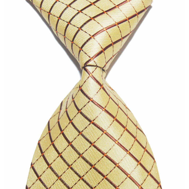 10cm Wide Plaid Tie For Men Silk Necktie Black Red Yellow Fashion Jacquard Woven Formal Wear Business Gift For Wedding Party