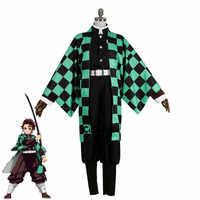 Dämon Slayer: Kimetsu keine Yaiba Kamado Tanjirou Kimono Yukata Uniform Outfit Anime Cosplay Kostüme
