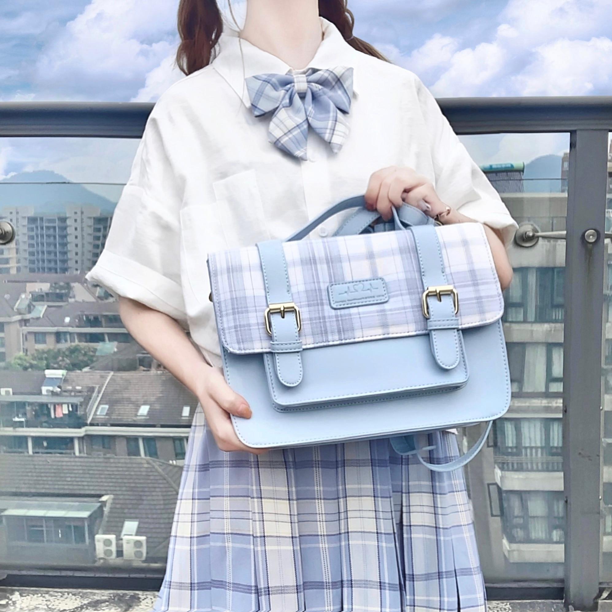 Small Fresh School Student JK Uniform Lattice Cambridge Satchel Handbag College Style Girl Japanese Messenger Bag Shoulder Bags
