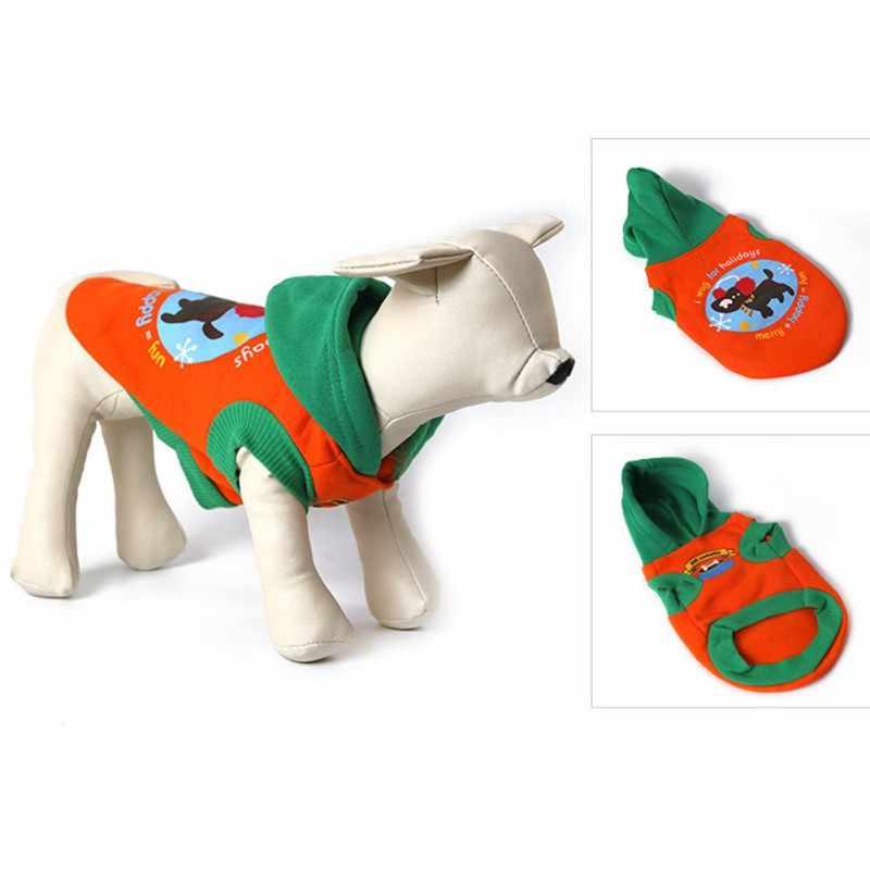 Зимняя одежда для собак теплая с капюшоном маленький собачий пуловер Одежда