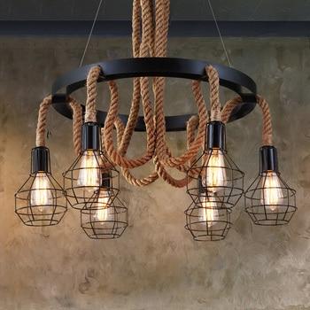 Retro Loft pendant lamp 6 heads study office dining room bar corridor restaurant pub cafe chandelier hanging light headlight