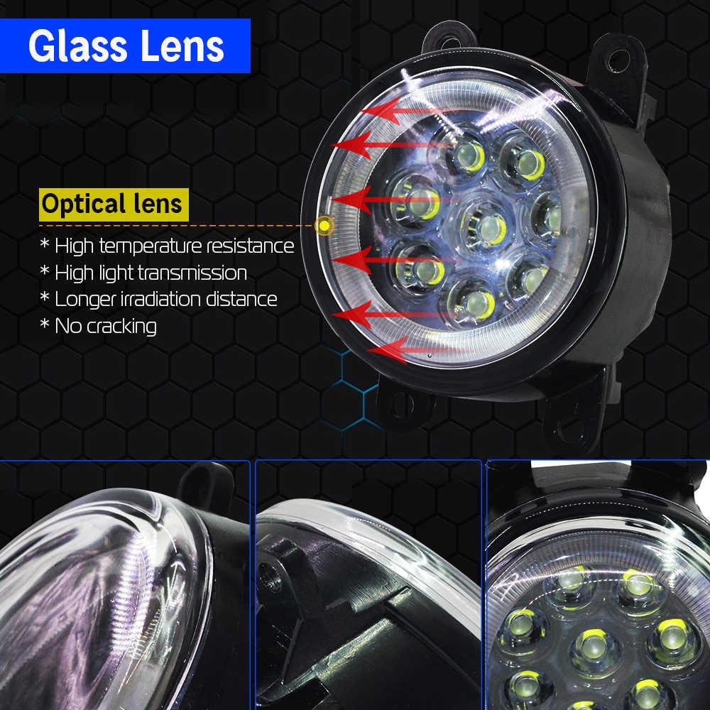 Cawanerl araba aksesuarları LED ampul sis işık melek göz gündüz farı DRL 12V yüksek parlak 2 adet citroen C4