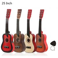 Guitarra acústica en tilo americano de 25 pulgadas, 12 trastes, 6 cuerdas con púas, guitarra de juguete para niños y principiantes