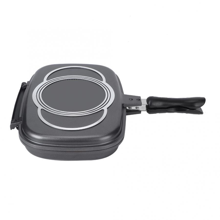 Сковорода откидная двухсторонняя антипригарная приспособление для приготовления барбекю посуда для печи антиобжиговая ручка