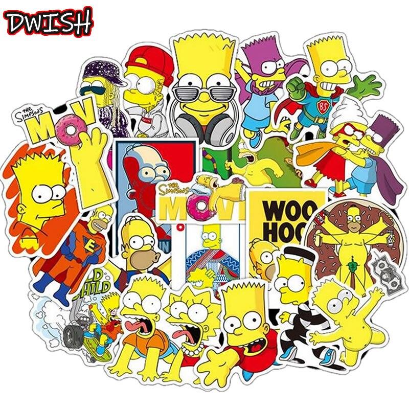 50pcs/Pack Cartoon Simpsons Waterproof PVC Children DIY Stickers Skateboard Guitar Suitcase Graffiti Sticker Kids Classic Toy