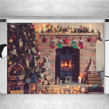 Christmas Decor Tree Photography Backdrops Fireplace Stocking Gift Children Backgrounds for Photo Studio