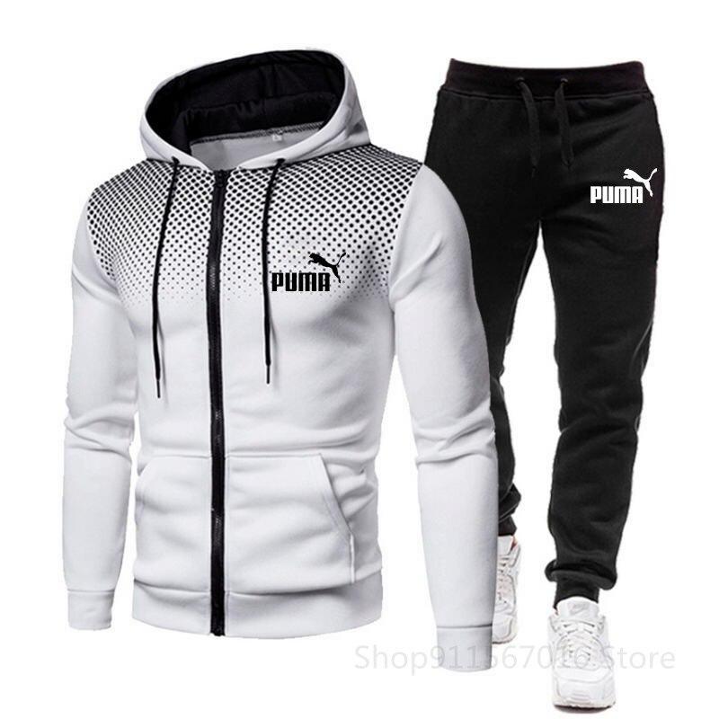 Новый Повседневный Спортивный костюм для мужчин, костюм из двух предметов, мужская спортивная одежда, толстовка на молнии + брюки, спортивны...