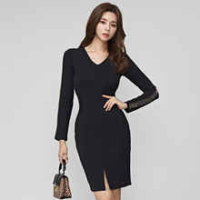 New winter Women Elegant Autumn Classy Office Lady wear to work Midi