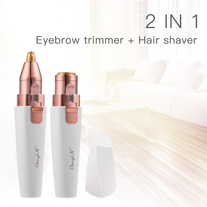 2 In 1 Electric Lady Epilator Eyebrow Trimmer USB Rechargeable Mini Pen Lipstick Shape Hair Removal Painless Razor Shaver 35