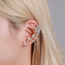 New Fashion Vintage Flower Leaf Clip On Earring Long Ear Cuff Clip Women Crystal 1PC Earrings Jewelry Gift Accessories(China)