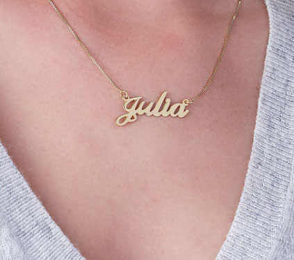 Nama Kustom Kalung Pribadi Huruf Rantai Berlapis Emas Liontin Kalung Stainless Steel Kalung untuk Wanita Perhiasan Hadiah