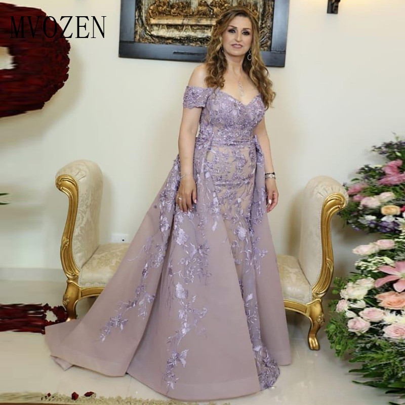 Modest Lilac Mermaid Evening Dresses Floor Length Lace Appliques Off The Shoulder Organza Arabic Dubai Evening Gown Vestidos