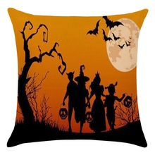 1Set/6pcs 2019 Halloween Dance Pillow Case New  Dreams Pumpkin Cushion Cover Magical Moon Night Forest Witches Pillow Cover halloween castle blood starry moon printed pillow case
