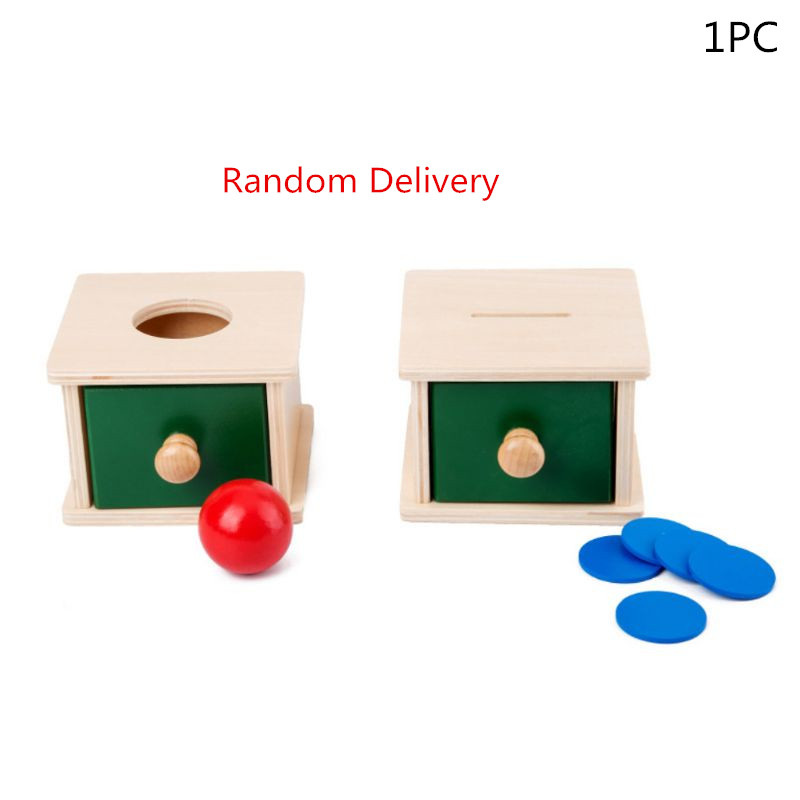 1PCS Infant Toddler Wooden Coin Ball Matching Box Montessori Tools For Baby Children P31B