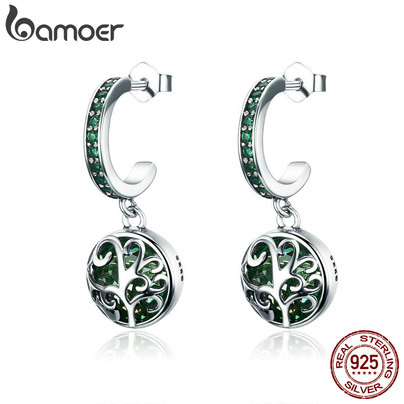 BAMOER Hot Sale 100% 925 Sterling Silver Green Crystal Tree Of Life Tree Leaves Drop Earrings For Women Fashion Jewelry SCE280