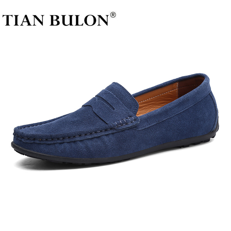 Suede Leather Men Casual Shoes Luxury Loafers Italian Genuine Leather Driving Moccasins Gommino Slip On Men's Shoes Plus Size