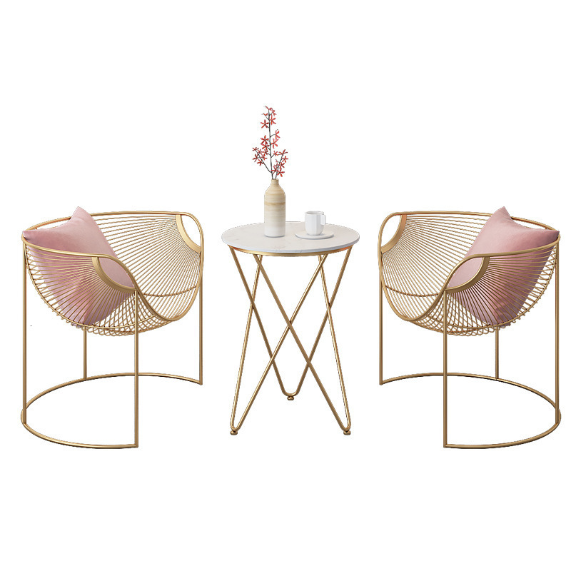 Nordic Ins Wind Hollow Gold Dining Chair Coffee Shop Iron Chair Tea Shop Leisure Tables And Chairs Combination