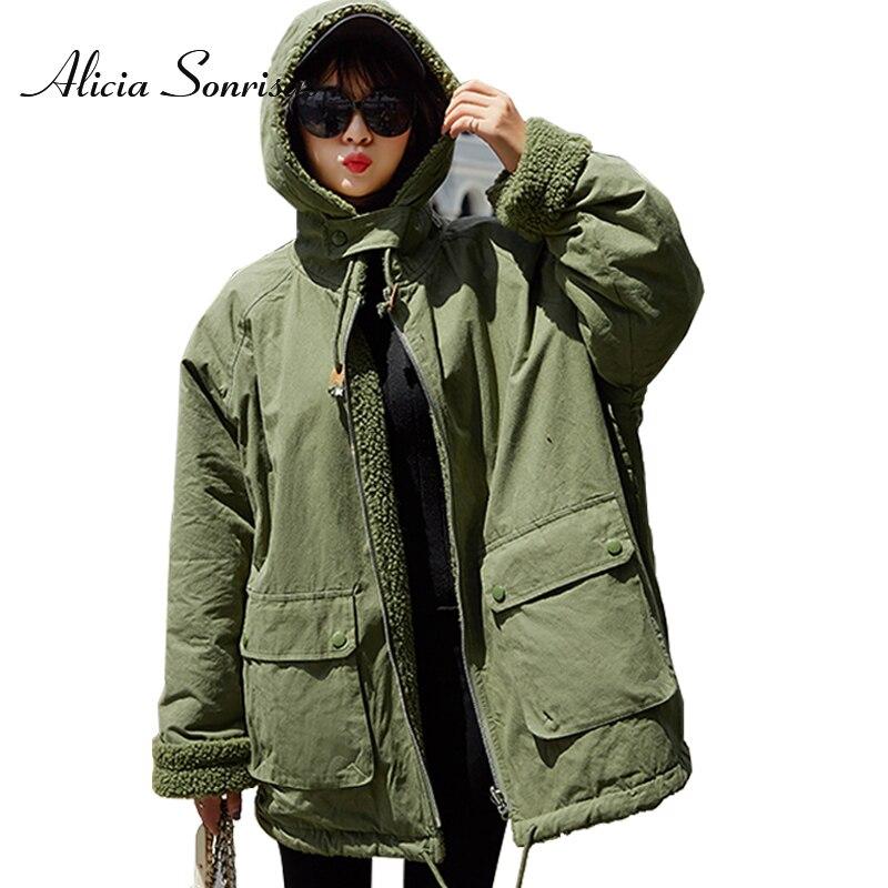 Veste d'hiver femmes coton rembourré manteau en vrac Double taille utiliser noir Outwear épais agneau chaud grande taille Parkas femme veste
