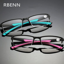 Rbenn ultraleve moda óculos de leitura mulheres homens semi-sem aro presbiopia óculos + 0.5 0.75 1.25 1.75 2.25 2.75 4.5 5.0 6.0