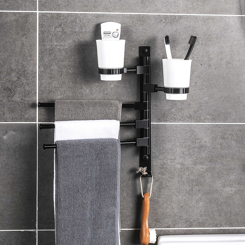 Rotary towel rack without punching space aluminum creative activity wall-mounted towel rack bathroom shelf with cup