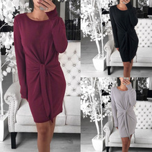 2019 New Arrivals Casual Solid Color Red Grey Black Long Sleeve Bandage Women Dress Fall Clothing