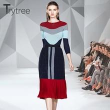 Trytree осенне-зимний комплект из двух предметов, повседневный топ с круглым вырезом+ юбка, модный вязаный лоскутный плиссированный набор из 2 предметов