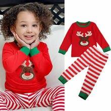 Зимняя Рождественская Милая Пижама для маленьких мальчиков и девочек, Рождественская пижама одежда для сна, пижама Пижамный набор, штаны с длинными рукавами для малышей