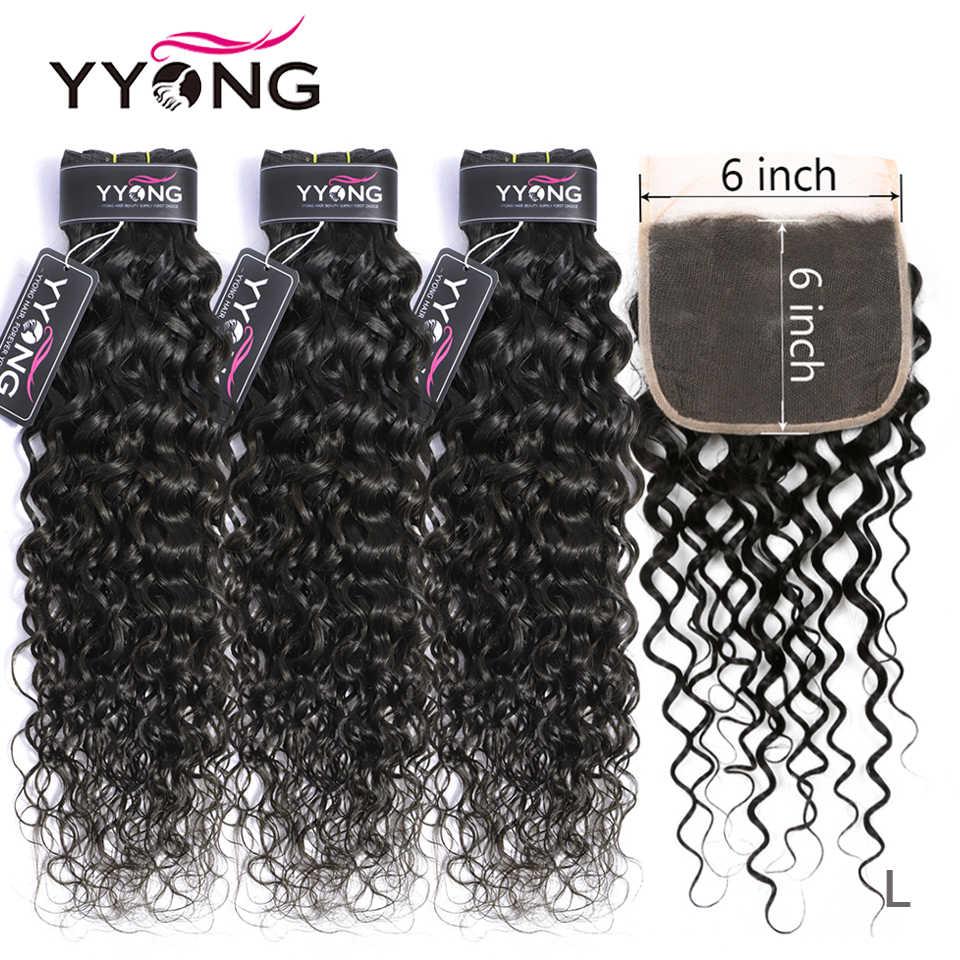 Yyong Haar 8-26 inch Peruanische Wasser Welle 6x6 Verschluss Mit Bundles Remy Menschenhaar Weben 3 /4 Bundles Mit Verschluss