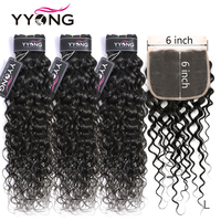 Yyong Hair 8 26 inch Peruvian Water Wave 6x6 Closure With Bundles Remy Human Hair Weaving 3/ 4 Bundles With Closure