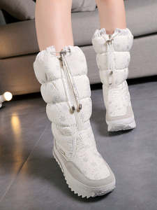 Winter Shoes Boots Plush Female White High-Women Girl Zip 35-To-Big-42 Easy-Wear Warm