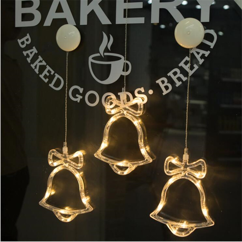 Window Sucker Holiday Lamp Deer Bell Stars Christmas Decor Holiday Lighting Battery Led For Xmas New Year DIY Warm White Lamp
