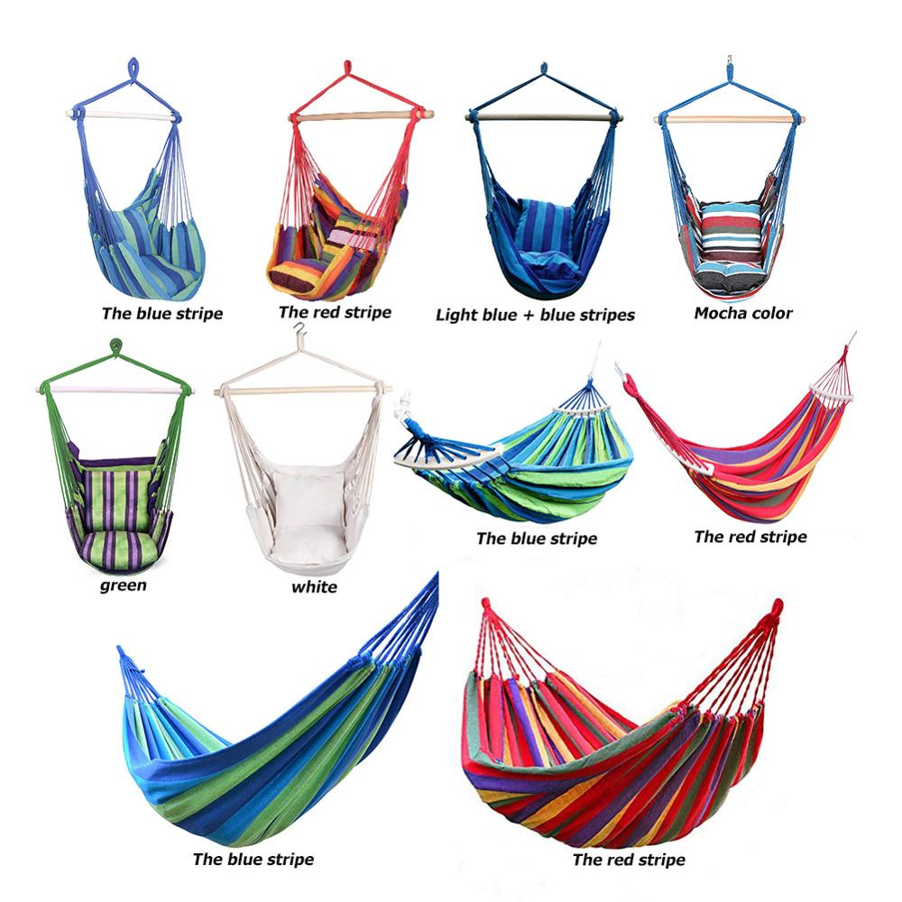 Portable Hammock Chair Outdoor Garden Hammock Hanging Chair for Home Travel Camping Hiking Swing Canvas Stripe Hammock Swings