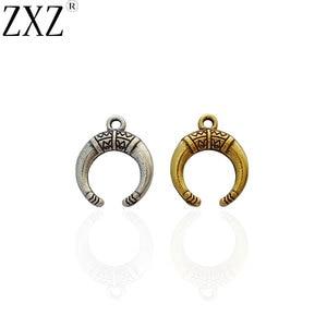 ZXZ 50 шт античный золотой тон Ox рога Полумесяца подвеска в форме Луны Бусы для ожерелья браслет ювелирных изделий