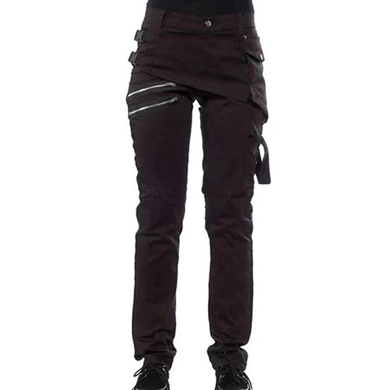 Women Gothic Pants Zipper Pockets Rivet Steampunk Trousers Rock Style Pants KNG88