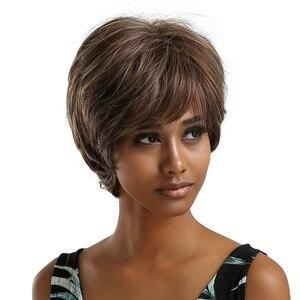 Image 2 - ALAN EATON krótkie falowane syntetyczne peruki mieszane brązowe srebrne włosy peruki z bocznymi grzywkami dla czarnych kobiet Afro włókno termoodporne