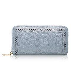 Echtes leder lange geldbörse zipper wallet für frauen handy handgelenk handtasche hohe qualität
