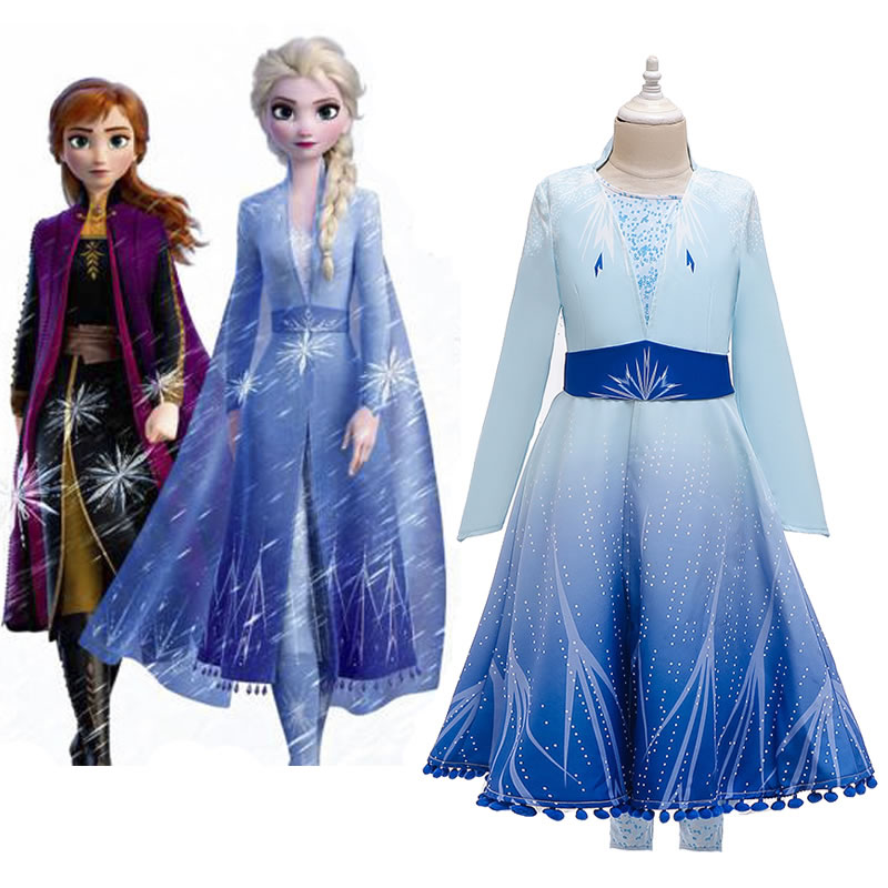 New Ice Snow Elsa 2 Costume For Girl Dress Xmas Children Coat Dress Pant Outfit Kid Elza Up Disguise Party Frock Cloth 10 Year