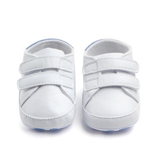 Kids Soft Soled Sports Sneakers PU Leather White Baby Shoes