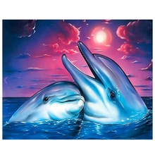 цена на 5D DIY Diamond Painting Full Diamond Animal Dolphin 3D Embroidery Cross Stitch Gift Home Decor