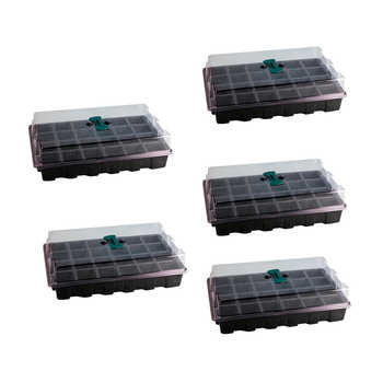 5Pcs/set 24 Holes Plants Grow Kit Sowing Nursery Pot Seedling Tray with Breathable Hole