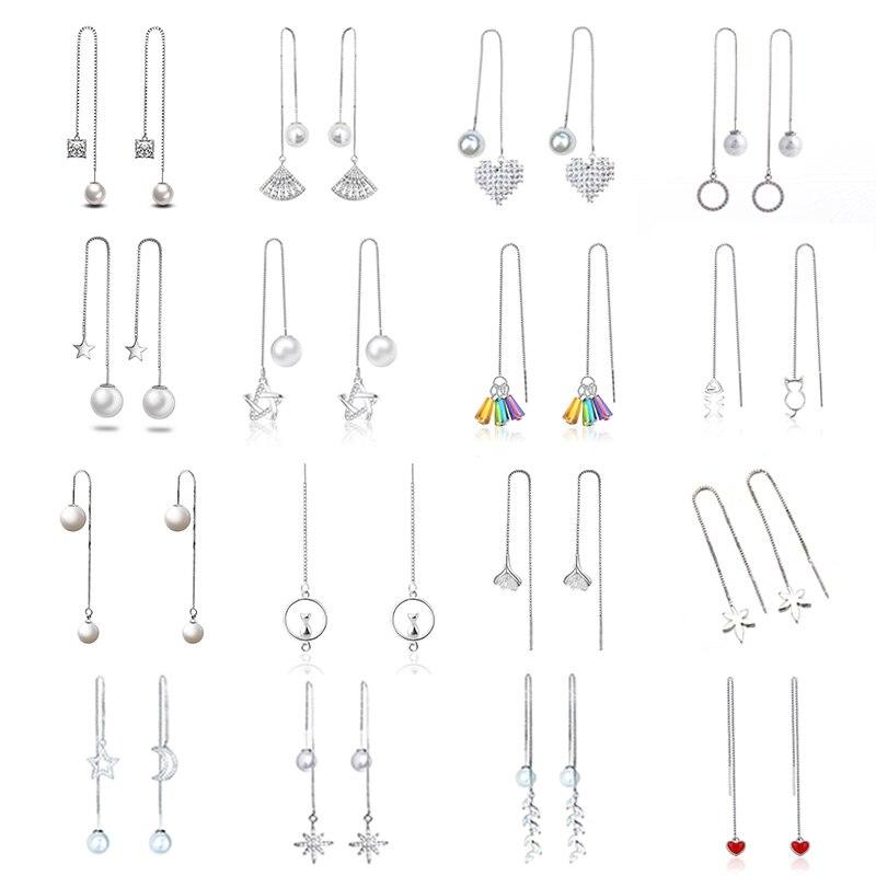 Fashion Statement Earrings Pearls Geometric Line Earrings Women Star Heart Tassel Long Chain Hanging Drop Earing Modern Jewelry