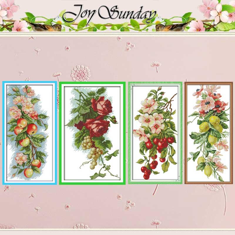벚꽃 포도 장미 꽃 사과 십자가 스티치 11CT 14CT 크로스 스티치 세트 DIY 크로스 스티치 키트 자수 바느질 작업