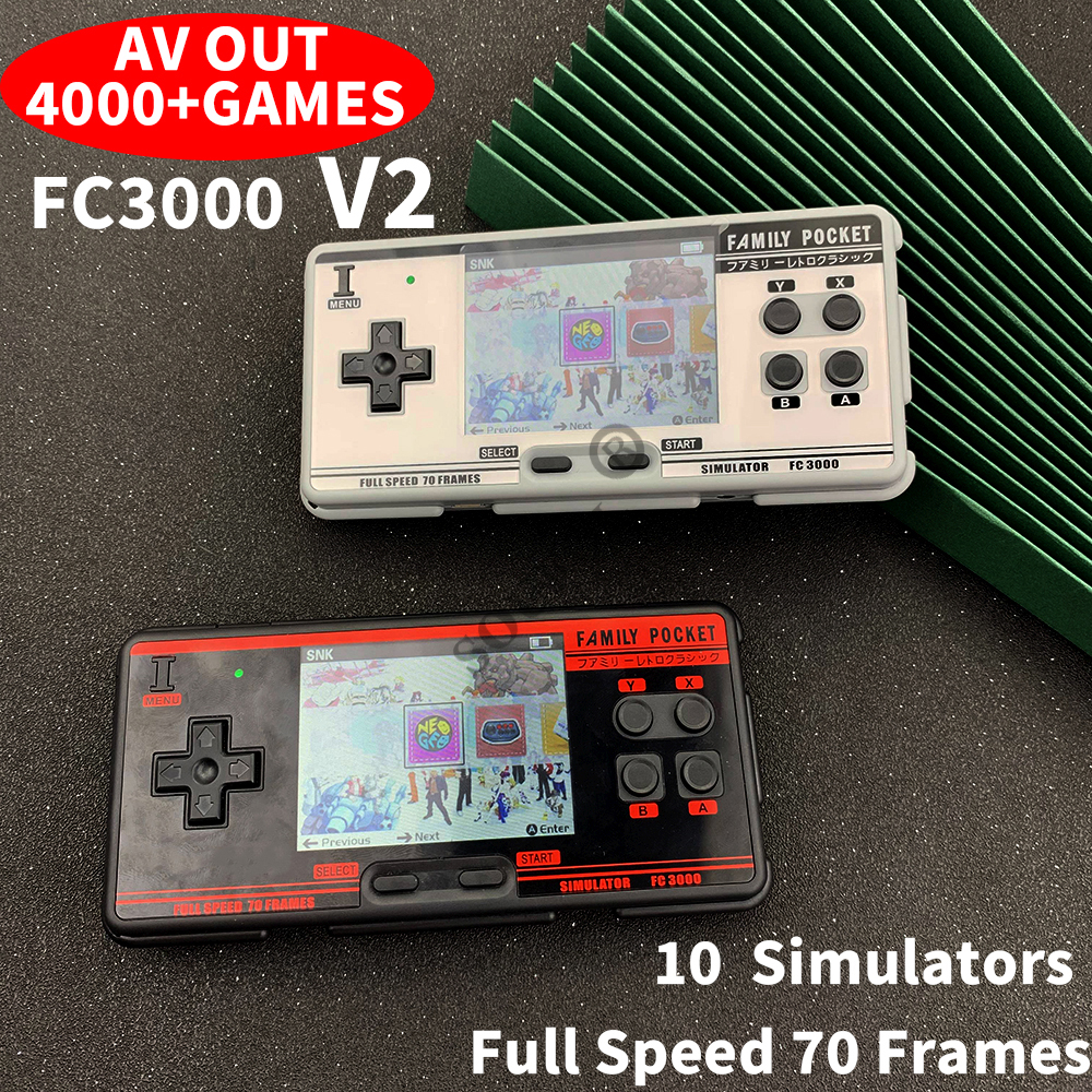 FC3000 V2 Retro Handhled Game Console Portable Game Player with 10 Emulators 4000+ Built-in Games Support Save&Load AV Out