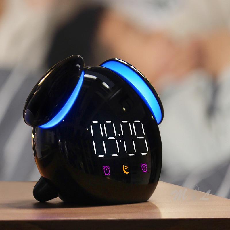 Touch Sensor Led Clock Light Colourful Night Light Chargeable 2000mAh Night Lamp Children Bedroom Beside Lamp Alarm Nightlight
